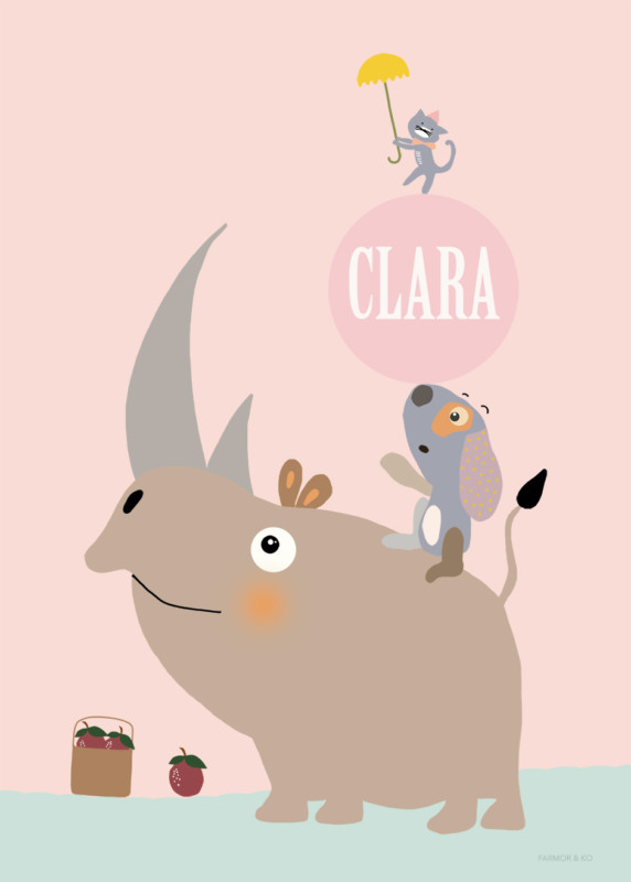 Pige navneplakat næsehorn