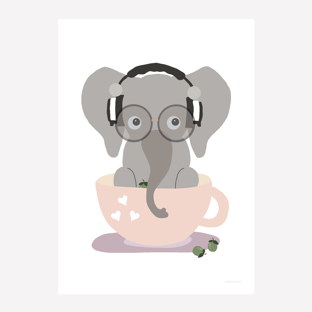 Elefant pige børneplakat