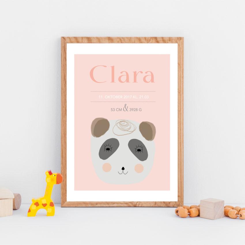 Navneplakat - vaskebjørn rosa