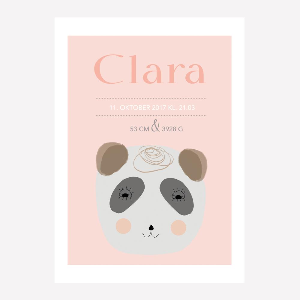 Navneplakat - vaskebjørn pige