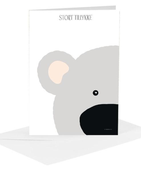 Lykønskningskort - grå bamse