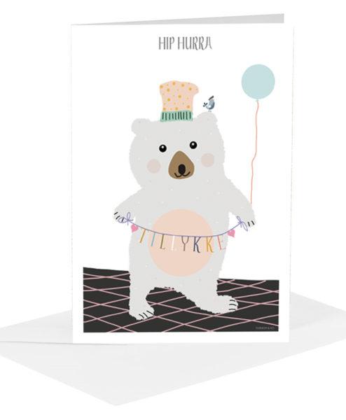 Lykønskningskort - grå bjørn