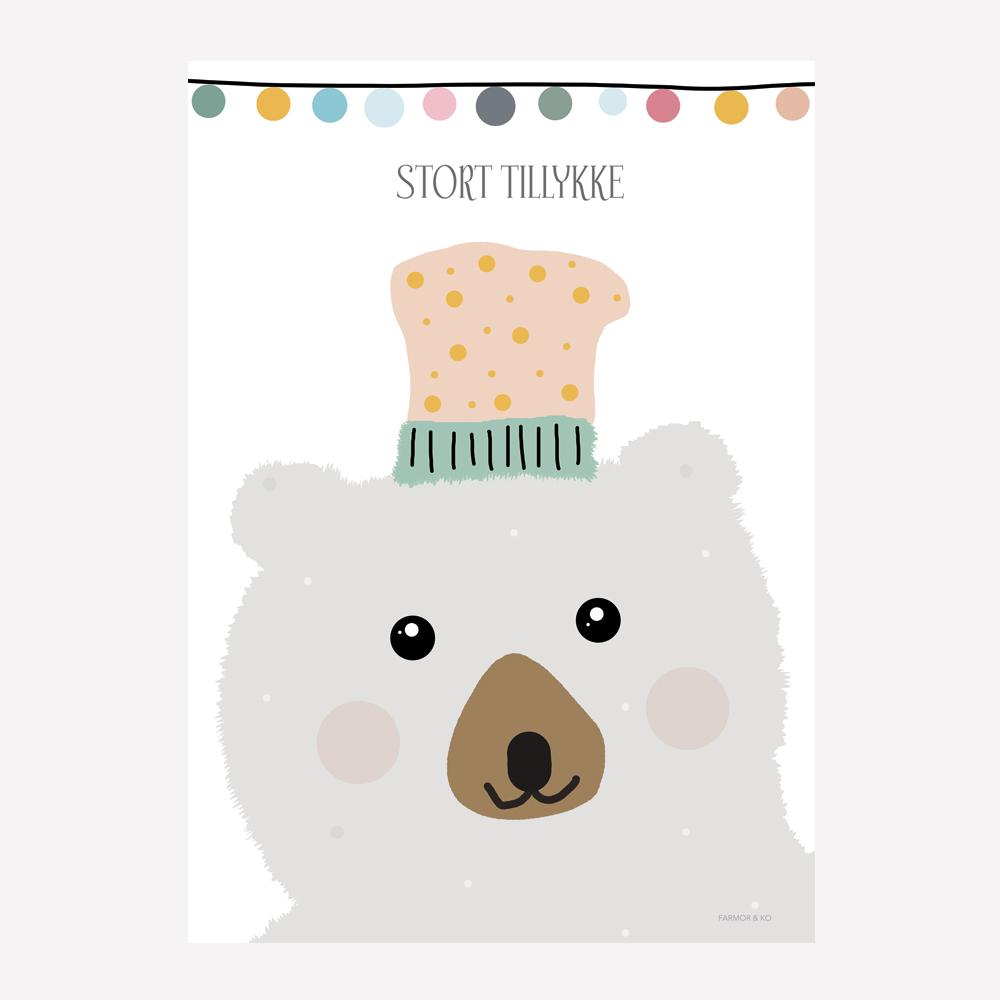 Lykønskningskort - gråt bjørnehoved
