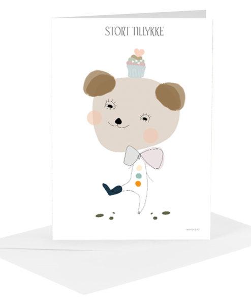 Lykønskningskort - brun bamse