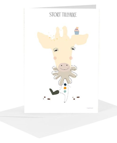Lykønskningskort - giraf