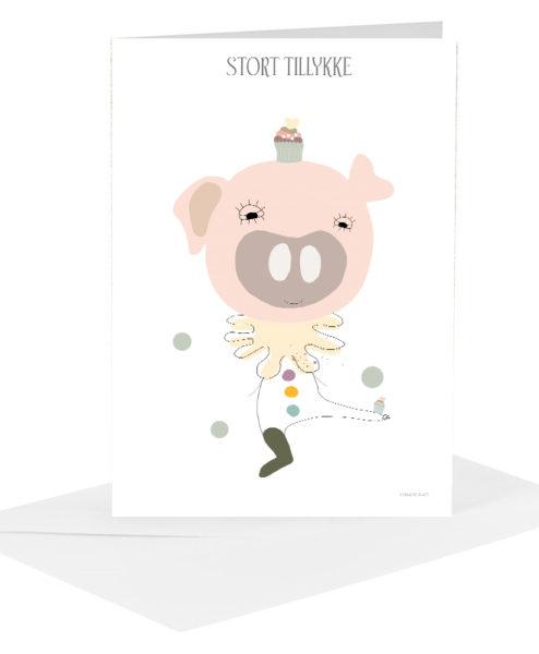 Lykønskningskort - gris