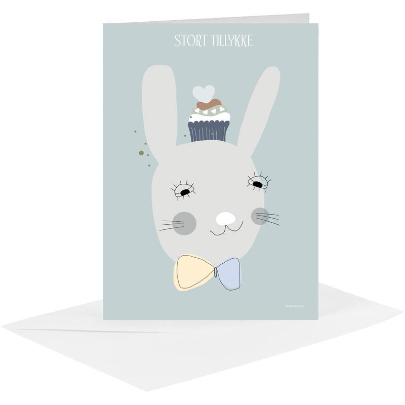 Lykønskningskort - kanin dreng