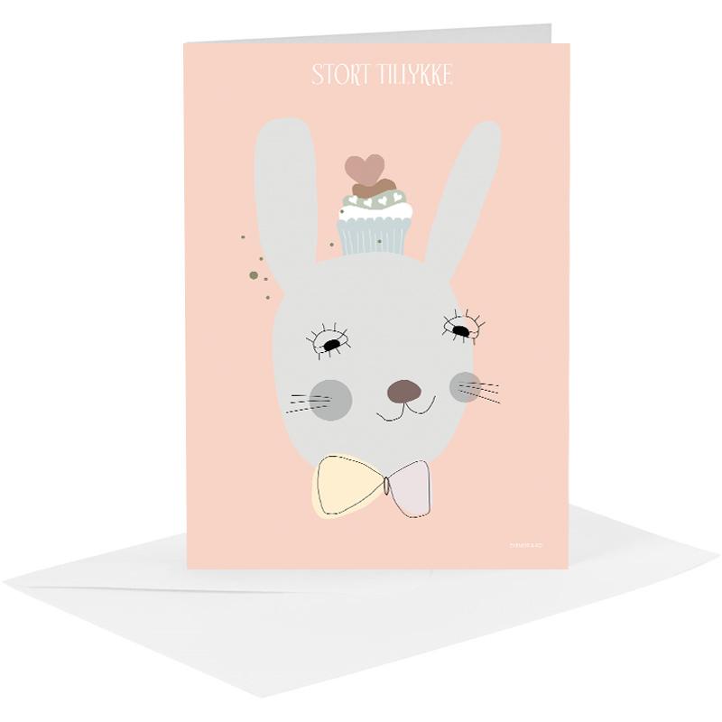 Lykønskningskort - kanin pige