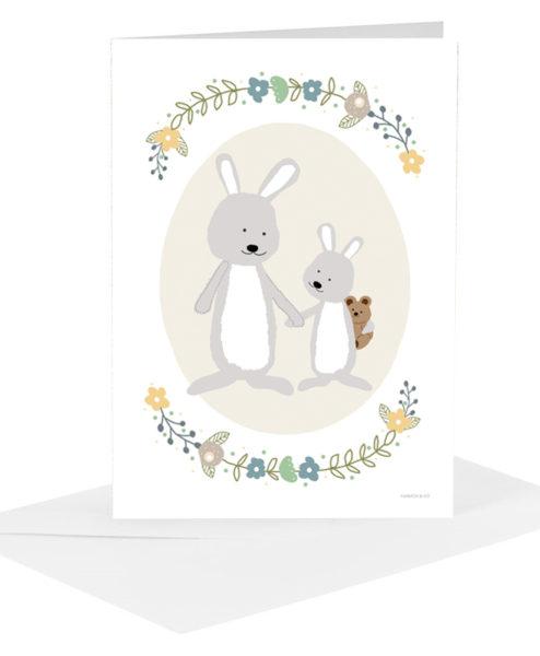 Lykønskningskort - kaniner