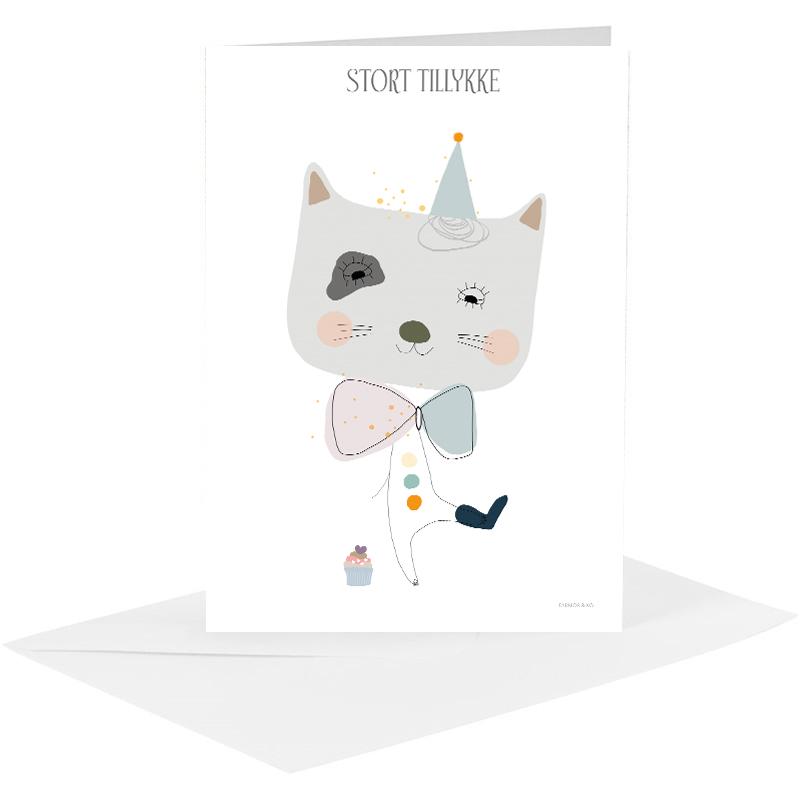 Lykønskningskort - kat