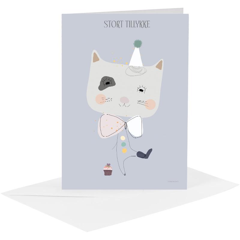Lykønskningskort - kat lilla