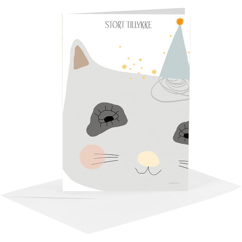 Lykønskningskort - kattehoved