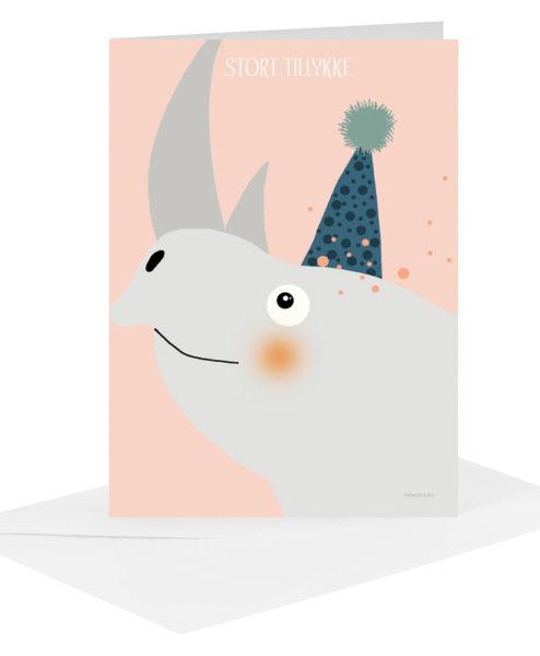 Lykønskningskort - næsehorn