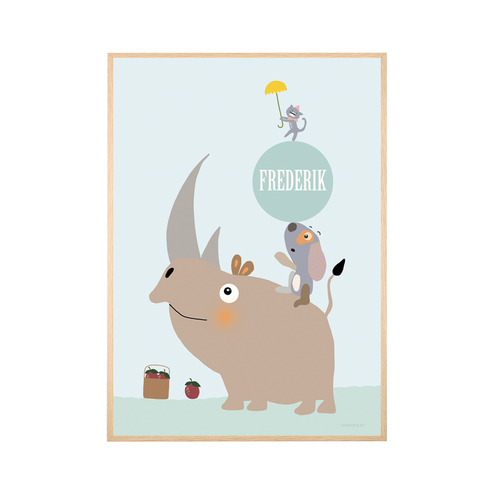 Navneplakat - næsehorn dreng