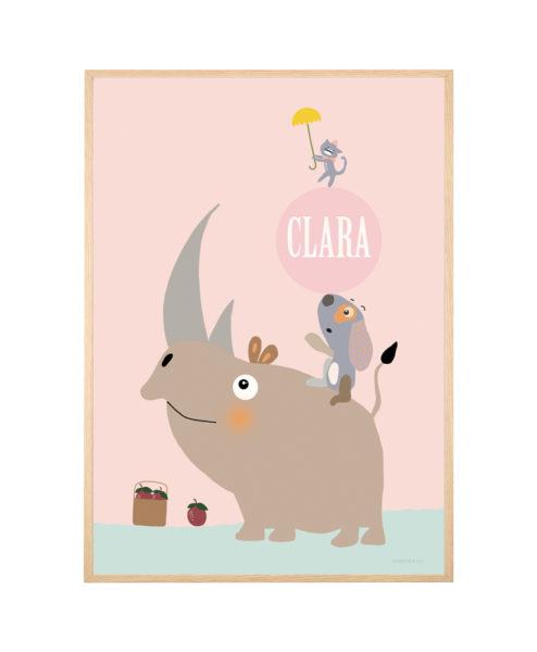Navneplakat - næsehorn pige