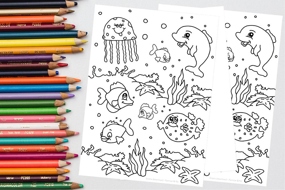 Gratis tegning fisk i vandet