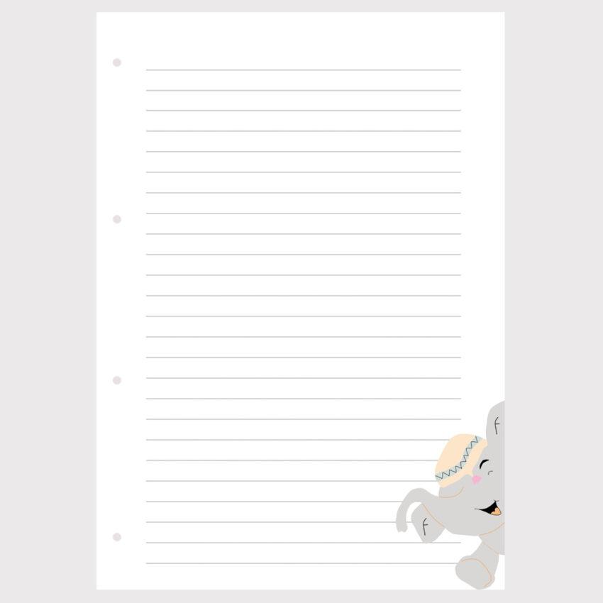 Barnet's bog - ekstra sider - linieret m. elefant
