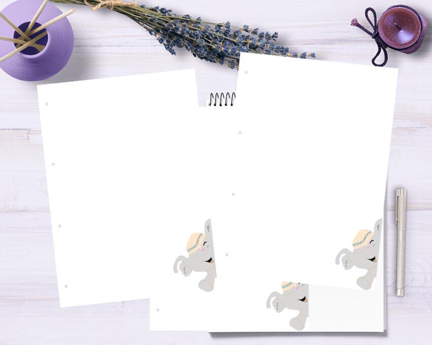 Barnet's bog - ekstra sider - blank m. elefant 3 stk.