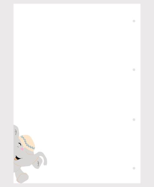 Barnet's bog - ekstra sider - blank m. elefant