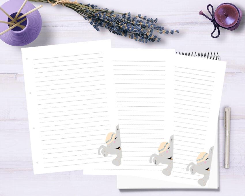Barnet's bog - ekstra sider - linieret m. elefant 3 stk.