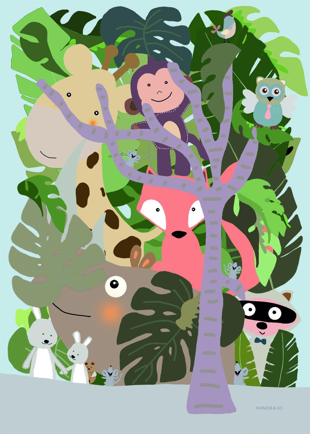 Skovens dyr - drenge børneplakat
