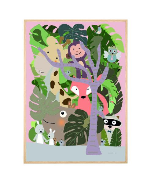 Skovens dyr - pige børneplakat