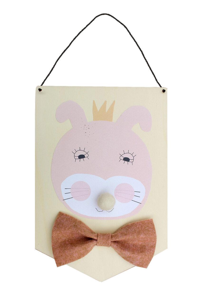 Vægophæng - lyserød kanin